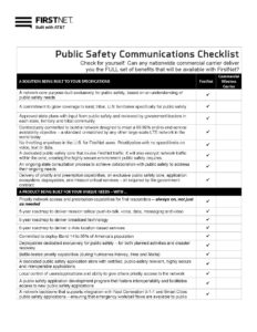 Public Safety Communications Checklist