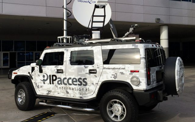 IPA Hummer with Ground Control Antenna on top of vehicle